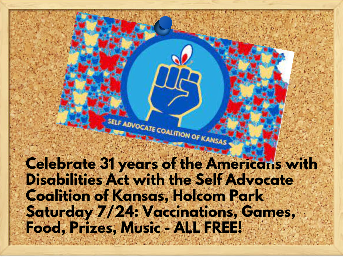 Self Advocate Coalition of Kansas Logo with blue fist and red and white butterfly perched on it in teh center of an outline of the state of Kansas filled in with red, blue and yellow butterfly shapes