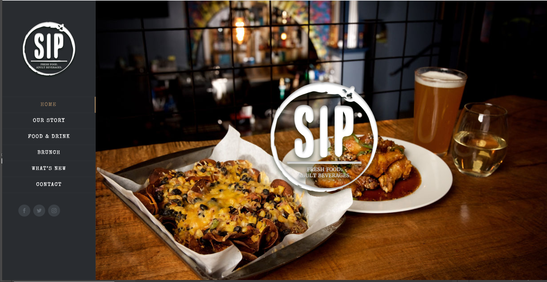 Sip's website redesign and photography by Growtrends