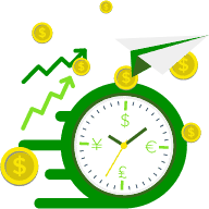 Icon of clock with money and arrows