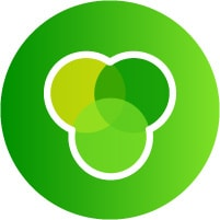 Green icon with gradient ven diagram