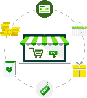 Icon of storefront with money icons surrounding it