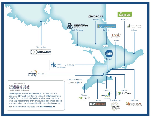Map of Regional Innovation Centre Ontario