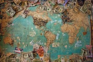 Money spread on world map