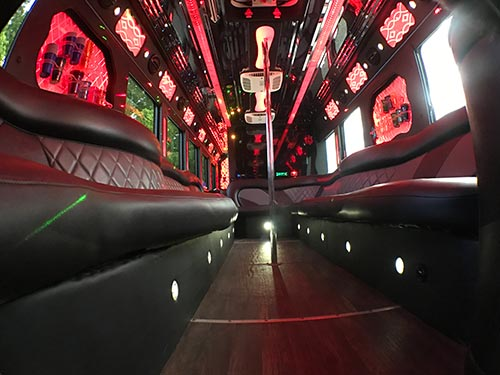 party bus rental miami interior