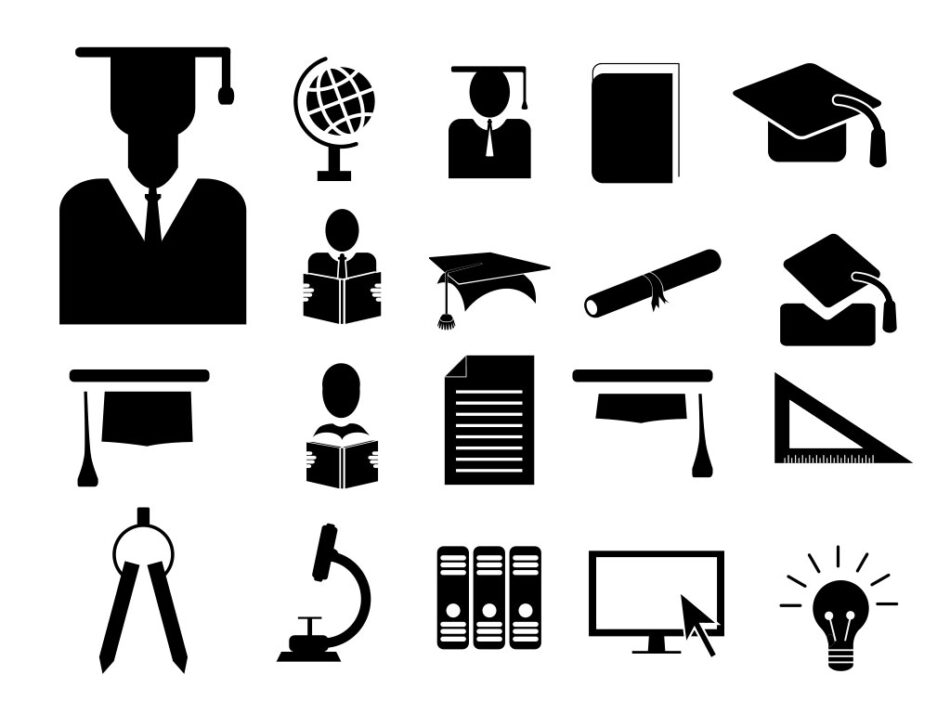 Download Vector Free Silhouette Education And School Icon Set Eps Png Svg Allfreepik Com