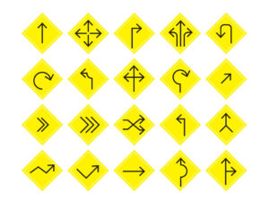 Free Vector Yellow Road Signs Icons Set | EPS | SVG | PNG