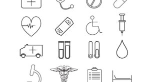 Flat Vector Line Healthcare and Medicine Icons Set