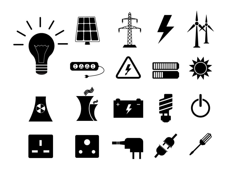 Electricity Energy Free Vector Icons Set | EPS | SVG | PNG