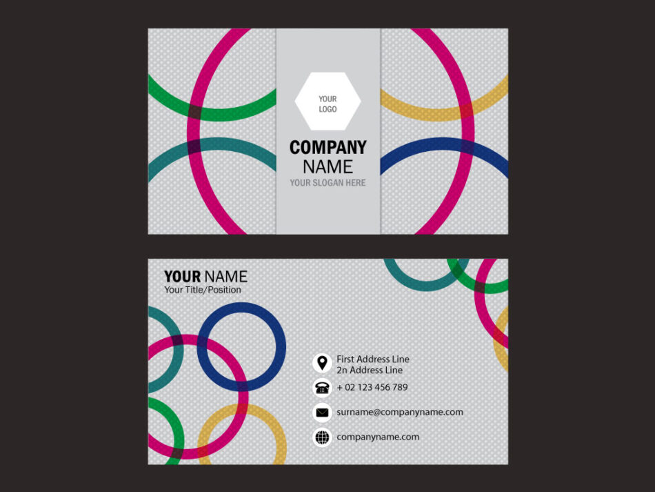 Colourful Business Card Template with Circles | Free Vector Download | EPS | JPG