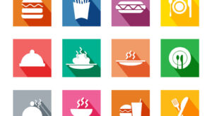 Free Download Colorful Long Side Shadow Stylized Food Icons Set | EPS | PNG | SVG | JPG