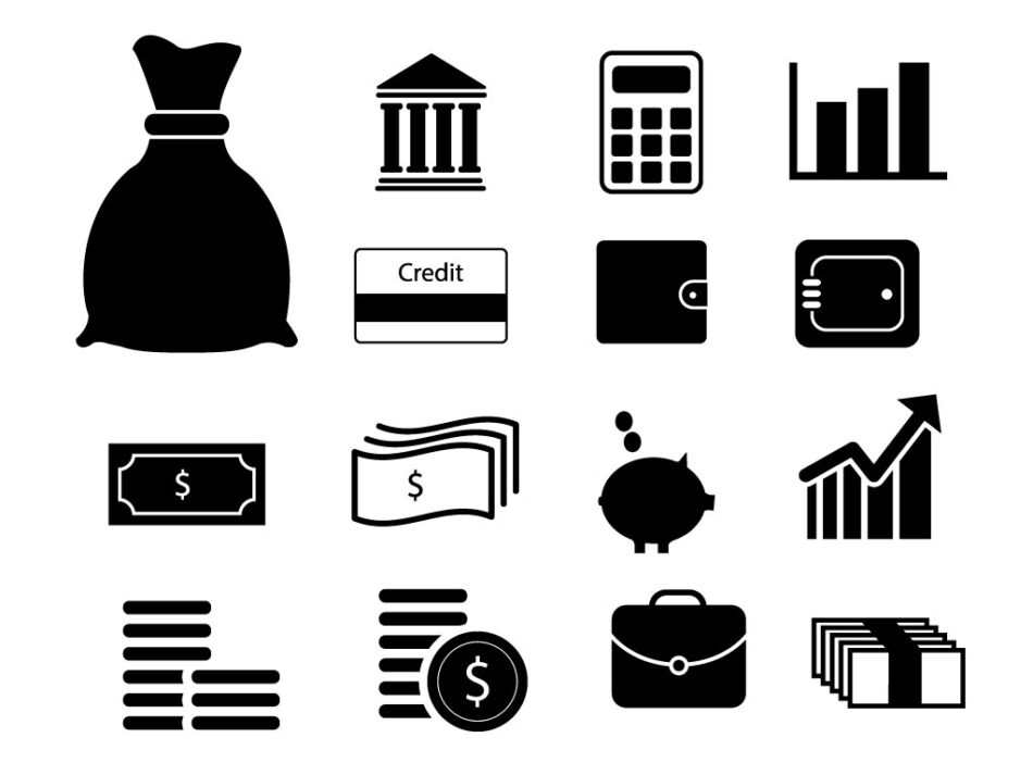 Free Finance Money and Bank Icons set | EPS | SVG | PNG | JPG