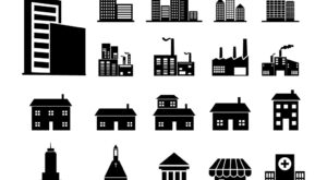 Free Vector Black and White Buildings Icons Set | EPS | SVG | PNG | JPG