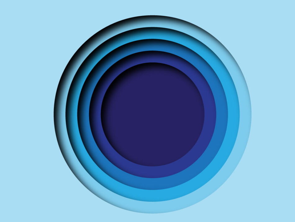 Abstract Blue Circle Paper Cut Background Wavy Purple Layers | EPS | JPG