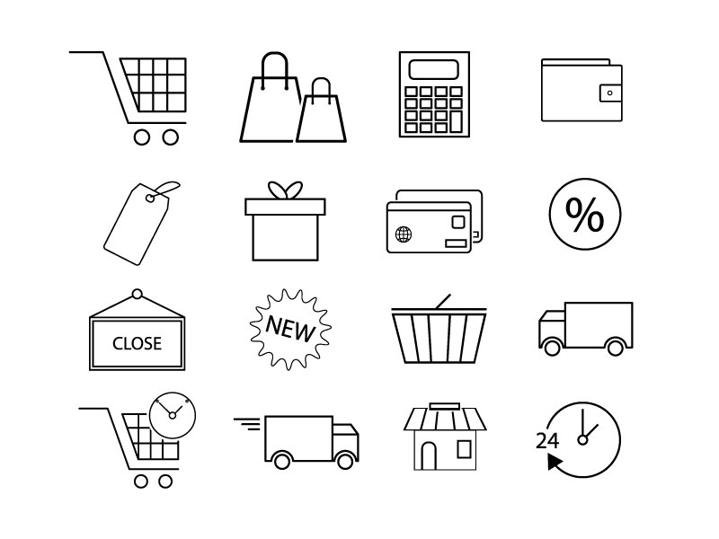 Free Outlined E-commerce or Shopping or Supermarket Icons Set   EPS   SVG   PNG   JPG