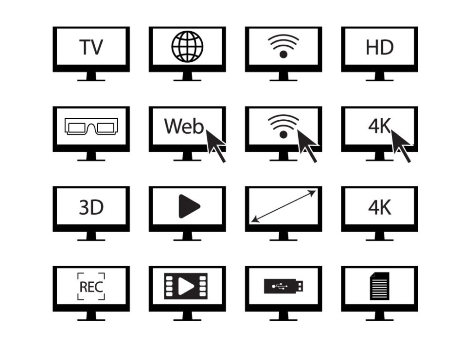 Free Outlined Smart TV Features Icons Set | EPS | SVG | PNG | JPG