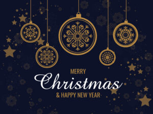 Beautiful Merry Christmas Background with Hanging Snowflakes Balls | Free Download | EPS | PSD| JPG