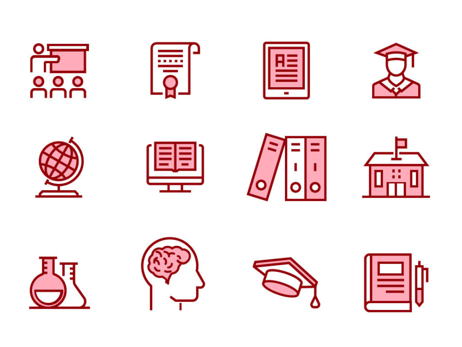 Modern Education Outline Icons Set | Free Download | EPS | SVG | PNG | JPG