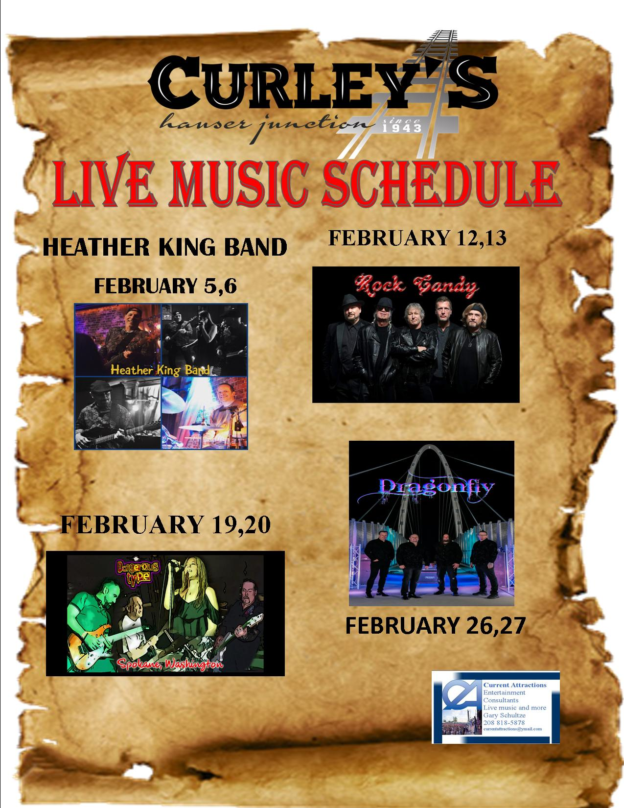 Curleys January Bands