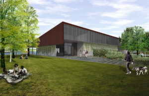 Artistic rendering of the intial concept for the visitors center, a rectangular building clad in glass, steel, and vines, with visitors walking and picnicing in the foreground.