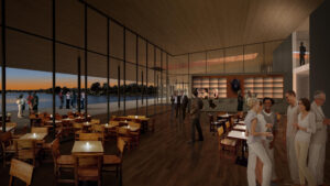 Artistic rendering of indoor event at Event Center with several guests. The room features wood flooring and floor-to-ceiling glass windows.