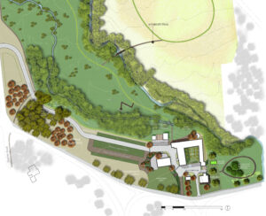 Rendered, colored illustrative site plan for the proposed improvements to Case-Dvoor Farm.