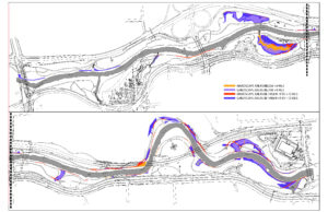 A diagrammatic map color coding areas based on their elevation to analyze risk of flooding and silt deposition.