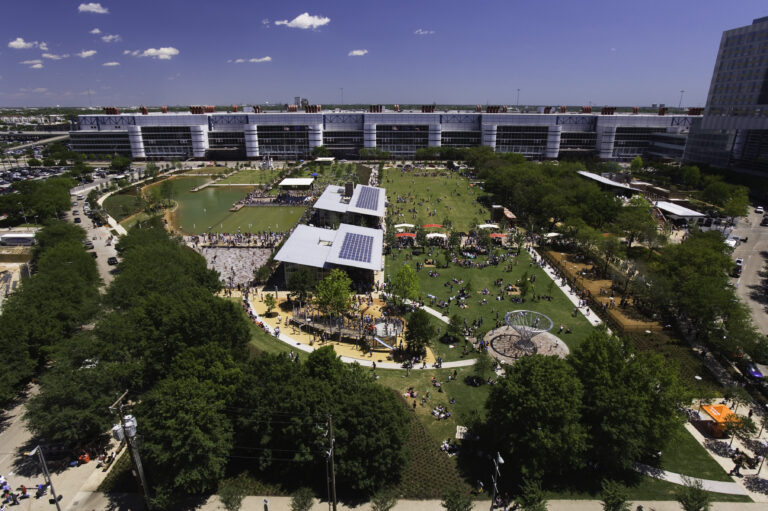 Birds-eye view of Discovery Green.