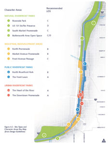 """A site plan of the Grand River Corridor, with the recommended level of service assigned to each of the 11 """"character areas""""."""