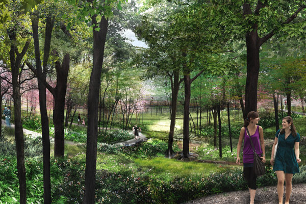 Illustrative rendering of a ravine landscape at HANC with trees, flowering shrubs, a stream and in the background, a pedestrian bridge. Two women are walking on a path through the landscape.
