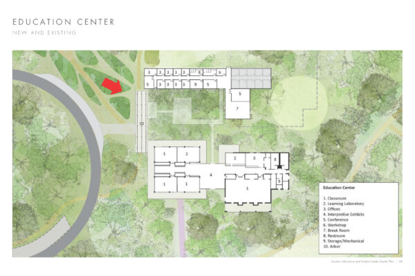 Illustrative site plan of the proposed expansion of the existing education center.
