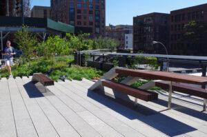 "Photograph of the High Line signature benches, in which the concrete paving ""peels up"" to become a bench with wood slats."