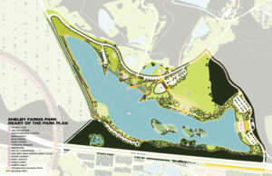 Illustrated, colored site plan of Heart of the Park at Shelby Farms.