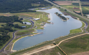Aerial, birds-eye view of the lake and surrounding areas in Shelby Farm's Heart of the Park.