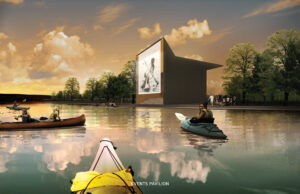 Rendering of kayakers paddling near the shoreline of the Events Pavilion; in the background are visitors walking the paths and watching the movie projected on the side of the pavilion.