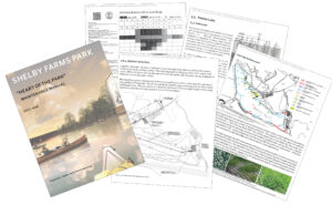 Samples of pages from ETM's Maintenance Manual for Shelby Farms, including diagrams identifying the landscape types and maintenance schedules.