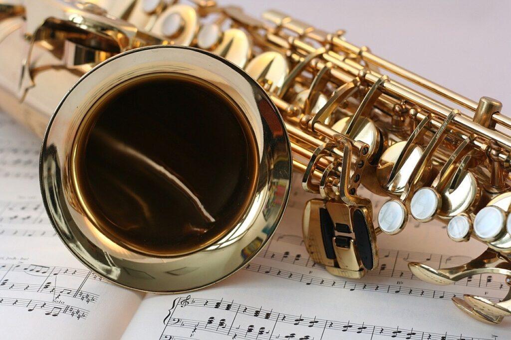 saxophone, music, gold