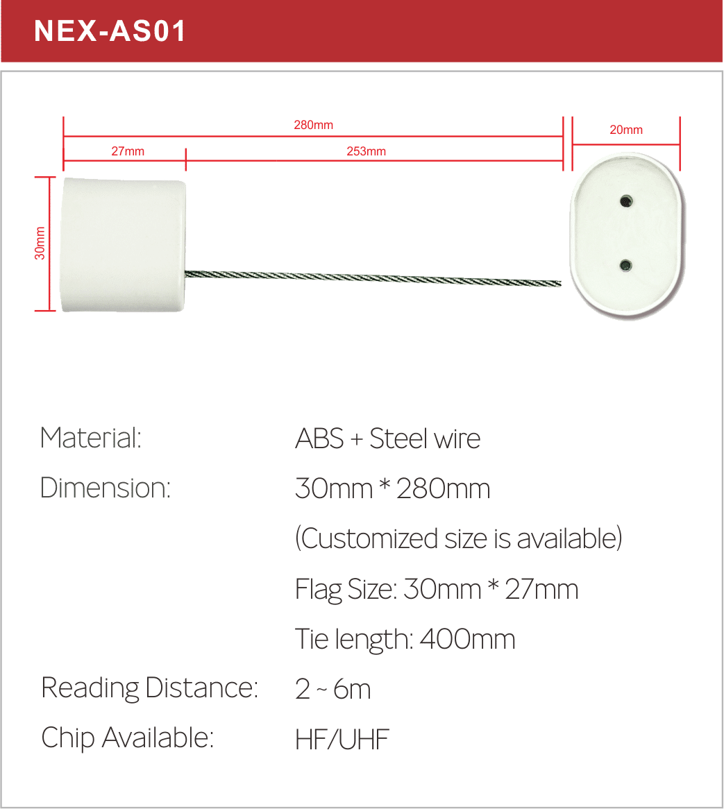 RFID cable tag spec for NEX-AS01