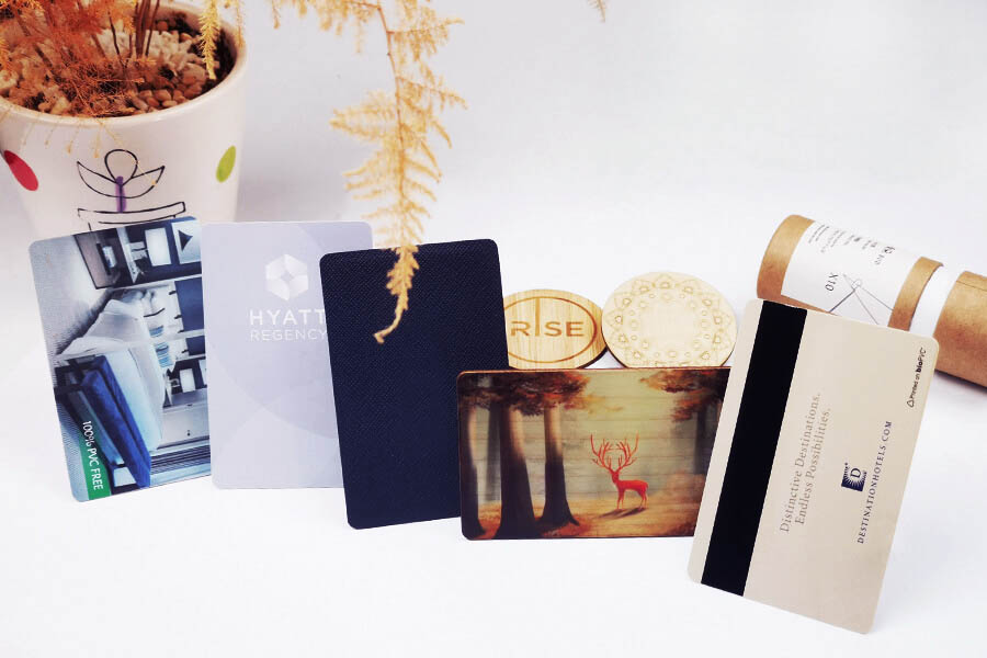 hotel card with different materials