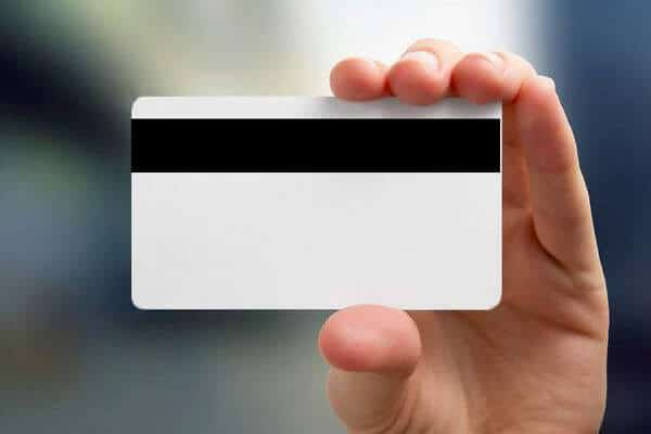 holding a magnetic stripe key card