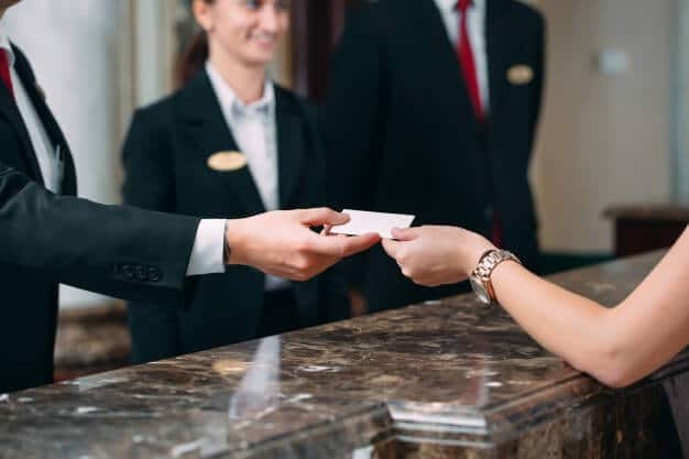 getting key card from hotel's reception