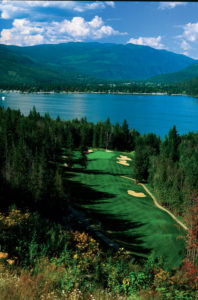 Looking down at the fairway from the tee at the 4th hole of Hyde Mountain Golf Course in Sicamous, British Columbia
