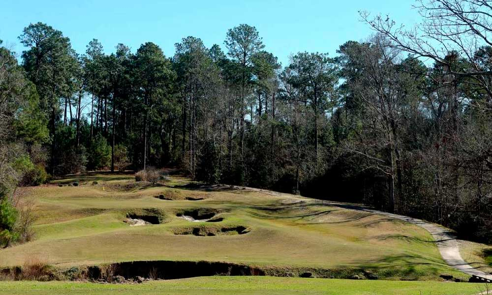 The golf course greens are shown at Rayburn Country