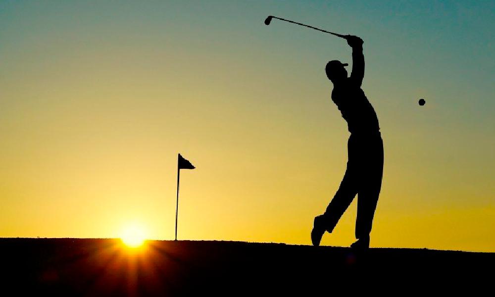 Golf Course Swing Sunset