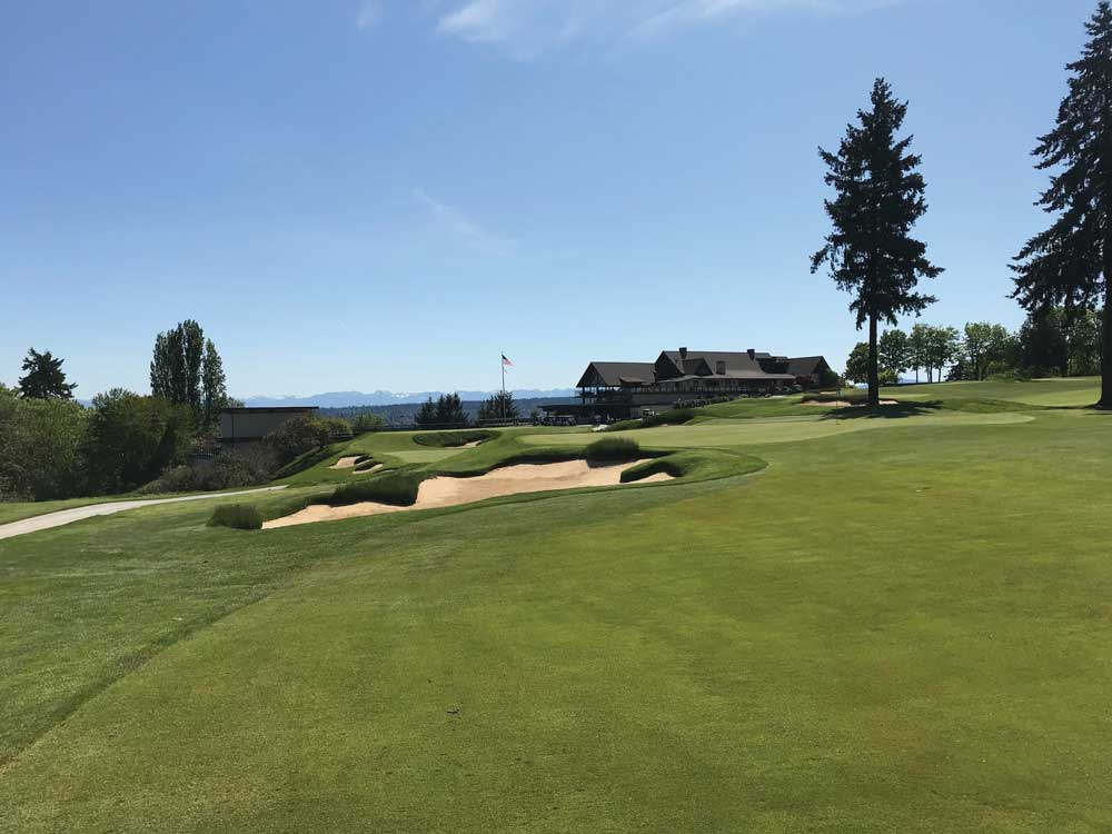 View from No. 8 of Green, 9th Green, Clubhouse & Cascades (Photo by Jeff Shelley)