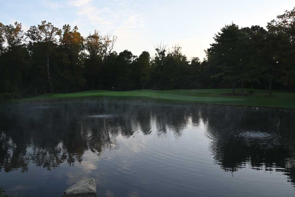 Photo of the third hole with air diffusers seen in the pond