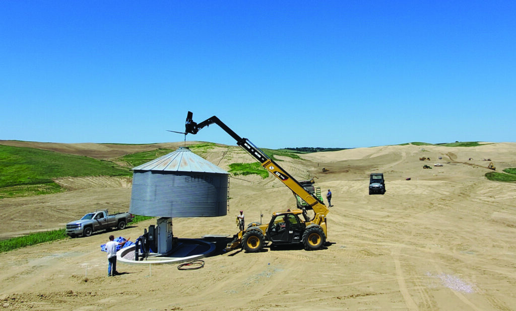 Landmark Hiding pump under grain silo