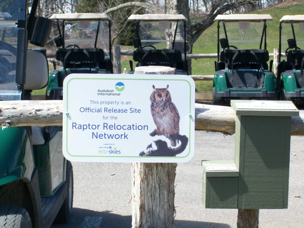 Official Raptor Release Network Sign at Mohonk Golf Course in New York. (Photo supplied by Audubon International)