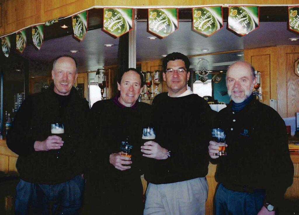 In an Irish Pub after Golf (left to right) - Drs. Joe Gruss, Mike Mitchell, Ken Jaffe & Bryan Williams (Photo Courtesy of Eve & Jennie Gruss)