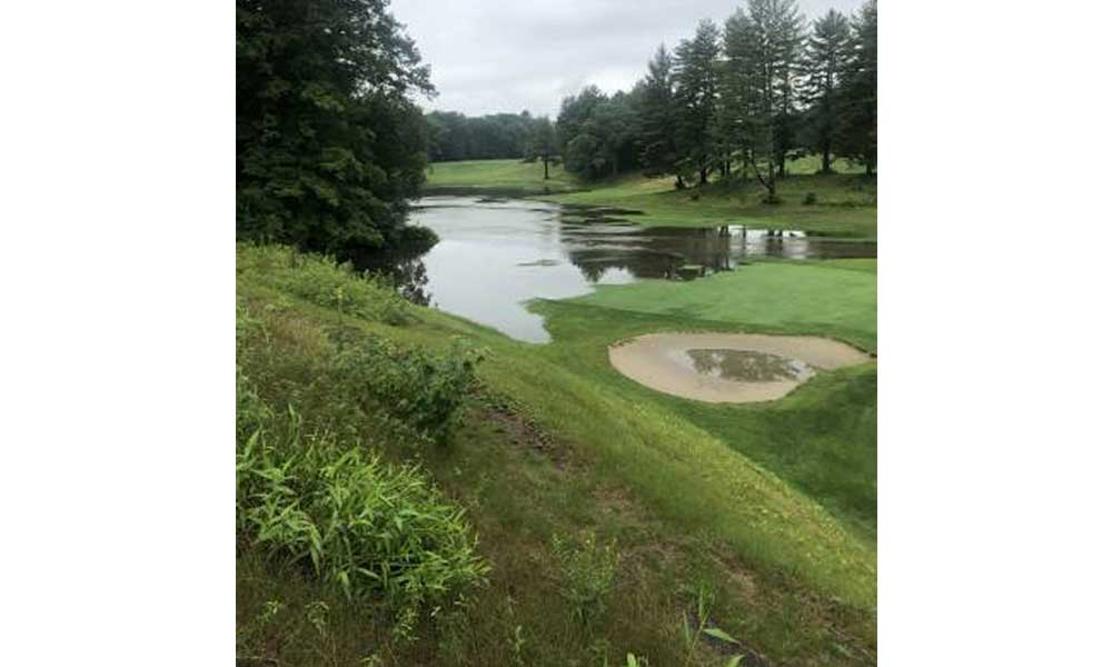 The ninth hole at the Country Club of Greenfield was largely flooded on Sunday after heavy rainfall continued over the weekend. CCG Head Professional Kevin Piecuch said that the water hadn't receded much on Monday afternoon. CONTRIBUTED PHOTO