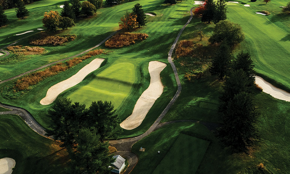 A Bird's Eye View of The Swale and Tusk Bunkers at the 17th at Forsgate's Banks Course